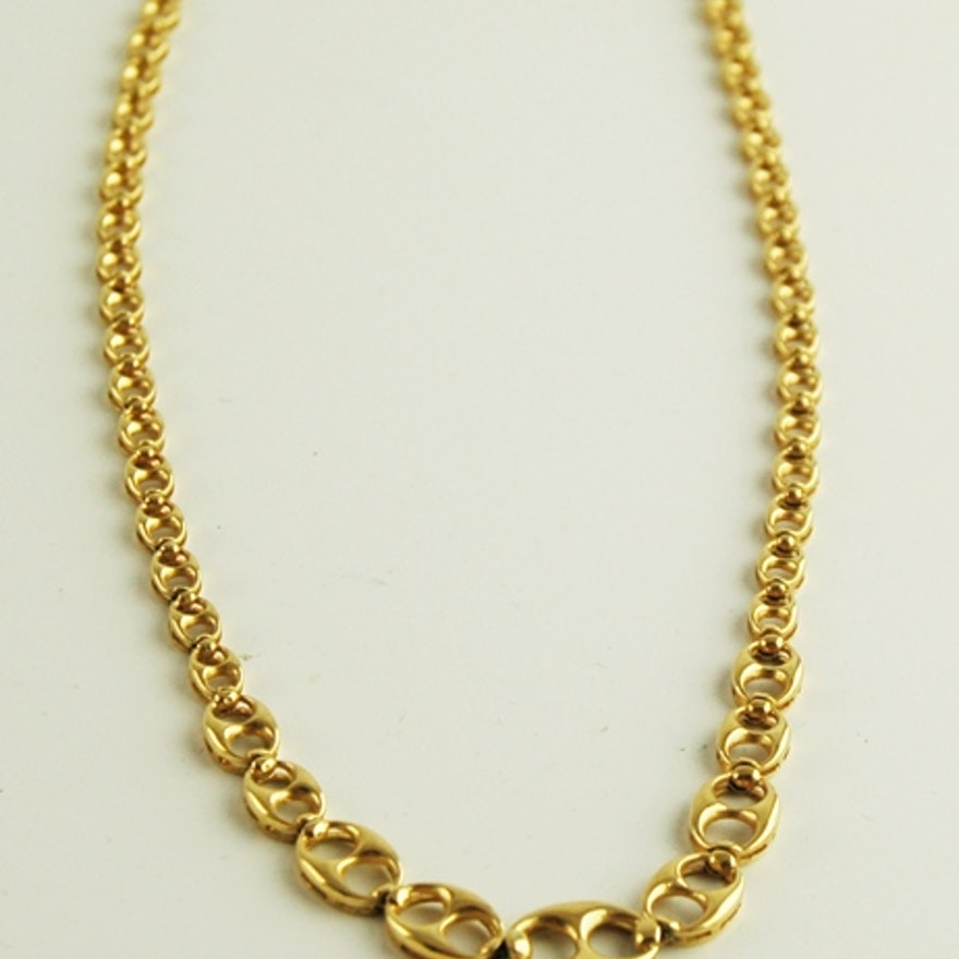 84bf396d 18K Yellow Gold Gucci Link Necklace