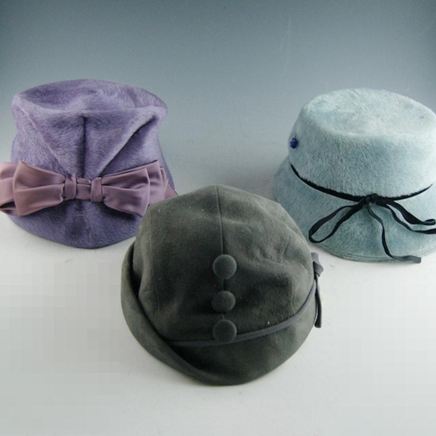 0bba7b7b4c570 Three Women s Vintage Felt Hats   EBTH