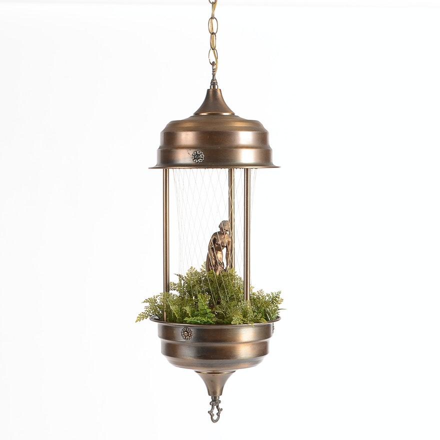 Hanging Oil Rain Lamp With Statuette and Foliage | EBTH