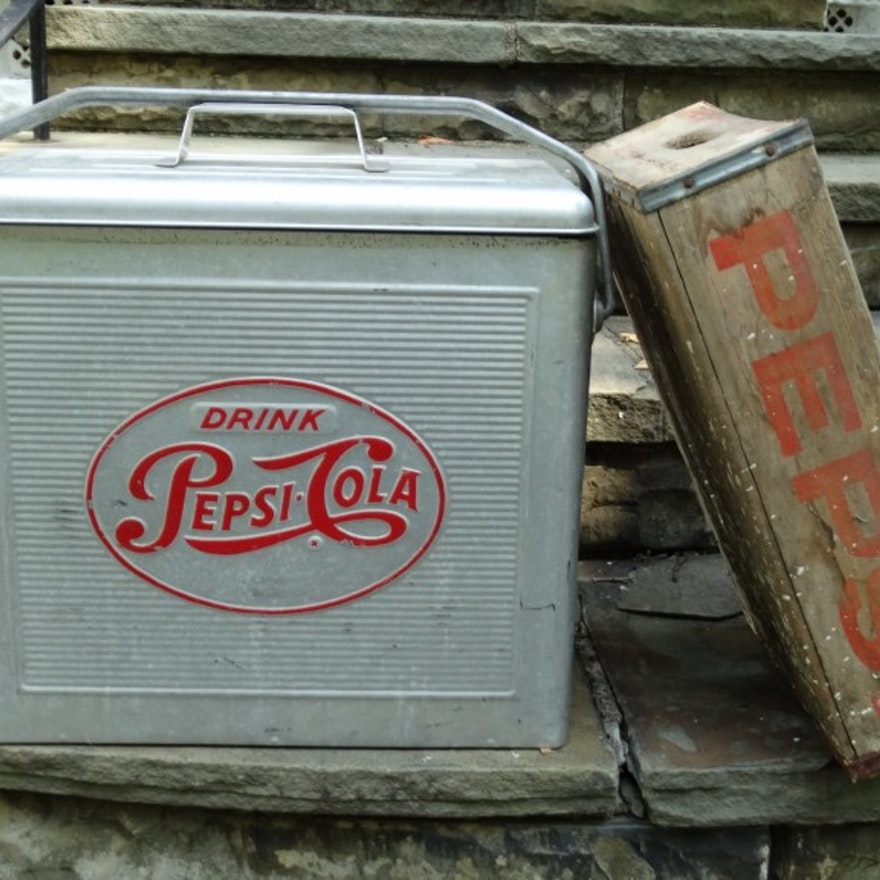Vintage Pepsi-Cola Aluminum Cooler and Wooden Tray
