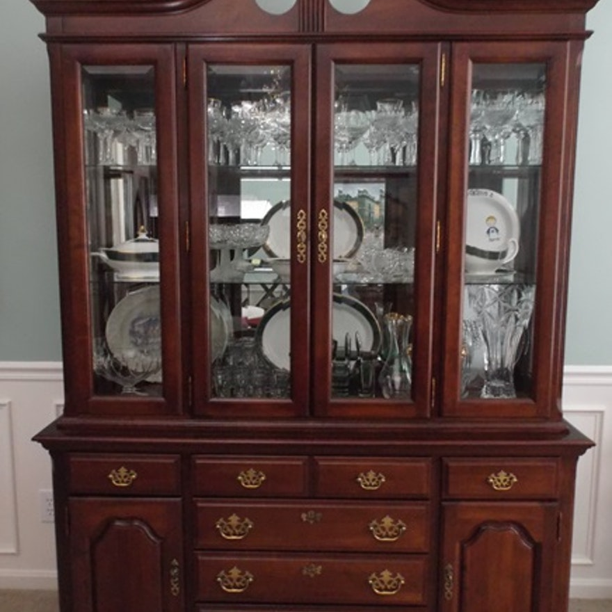 Broyhill Federal Style Cherry Wood Breakfront