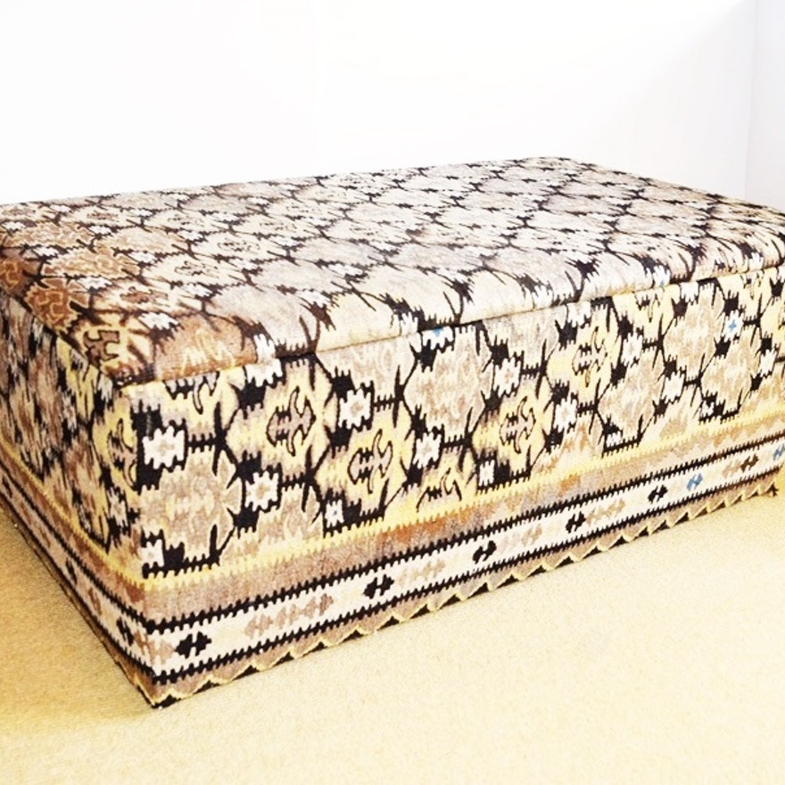 c6db80b42 A Chest With Hinged Lid Upholstered in a Vintage Kilim Rug : EBTH