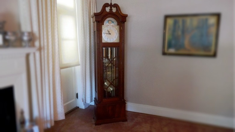 Ridgeway Antiqued Cherry Grandfather Clock Ebth