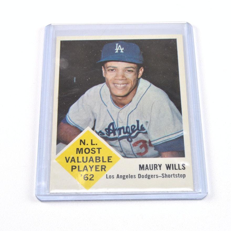 1963 Maury Wills Fleer Baseball Card