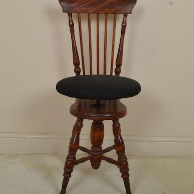 Antique Comb Back Adjustable Piano Stool - Online Furniture Auctions Vintage Furniture Auction Antique