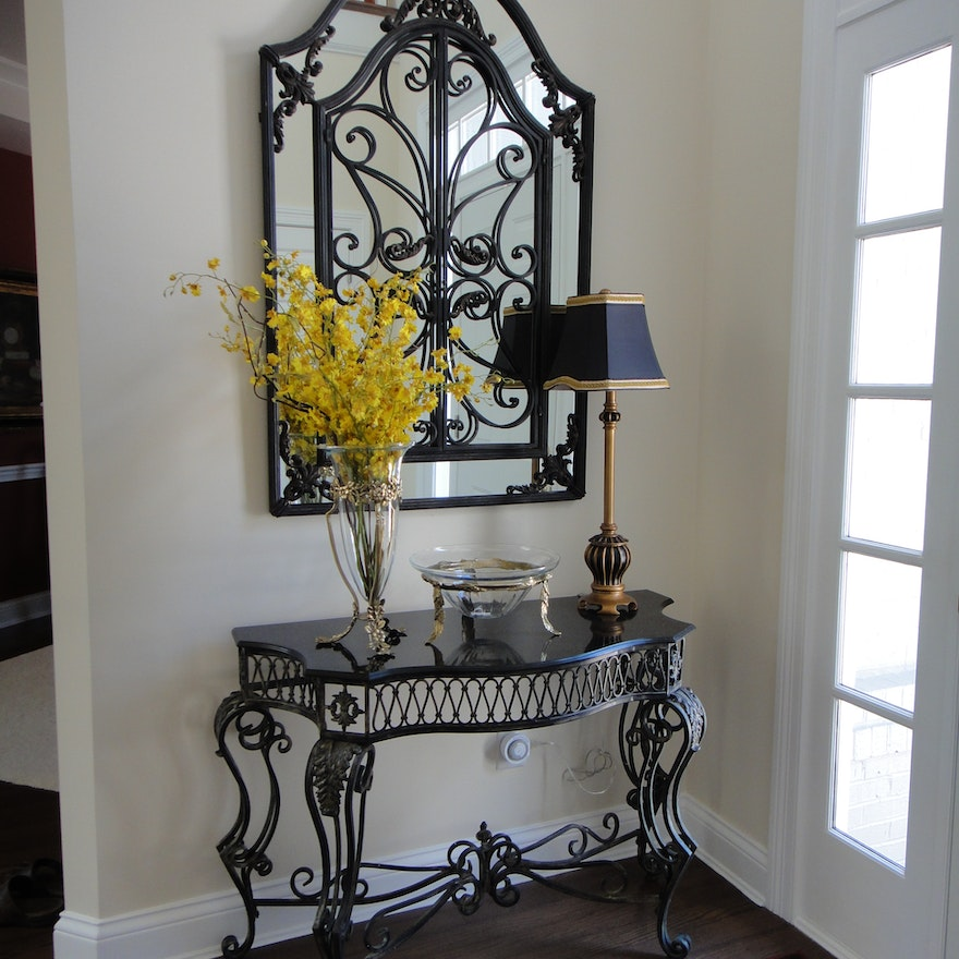 gorgeous wrought iron foyer mirror and console table ebth