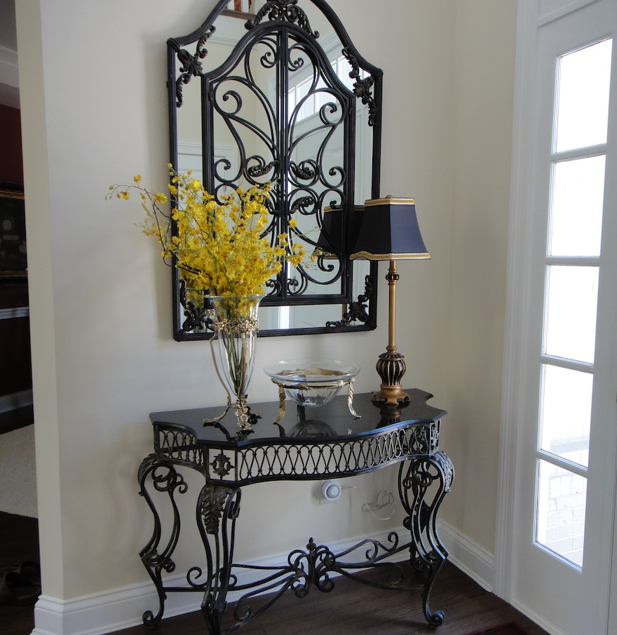 Gorgeous wrought iron foyer mirror and console table ebth for Foyer console table and mirror set