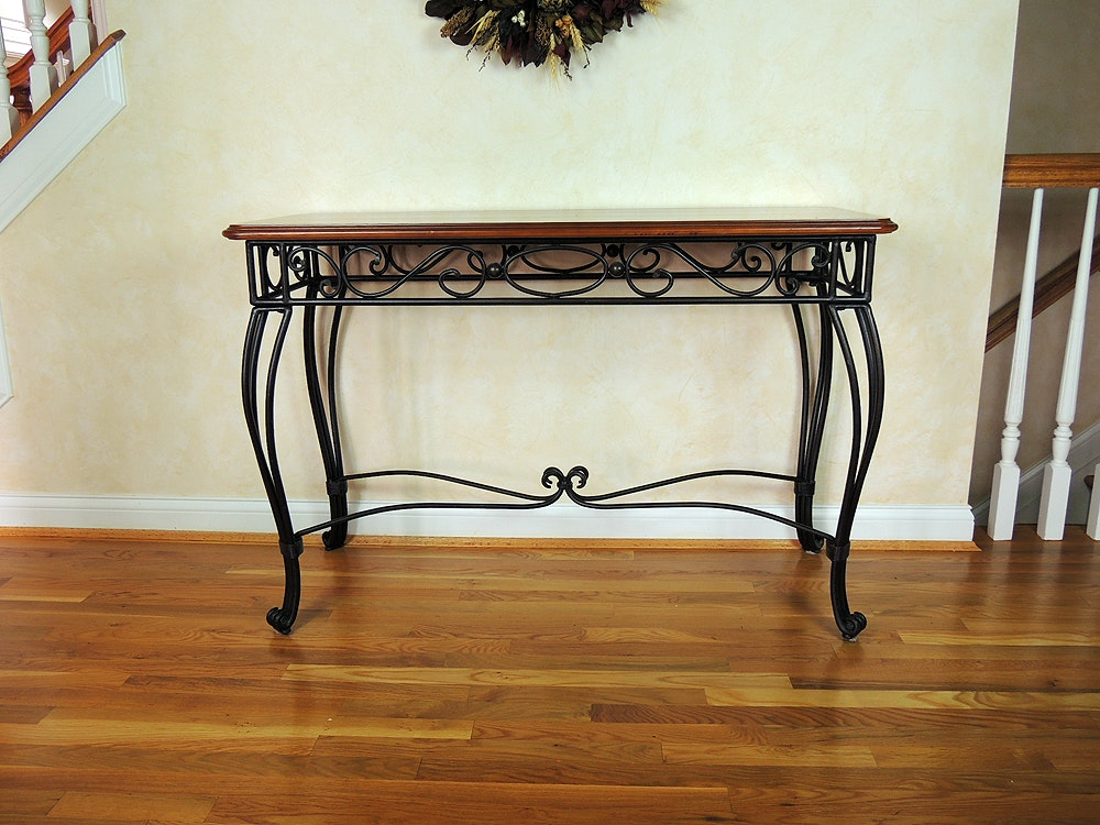 Bombay Company Wrought Iron And Wood Console Table ...