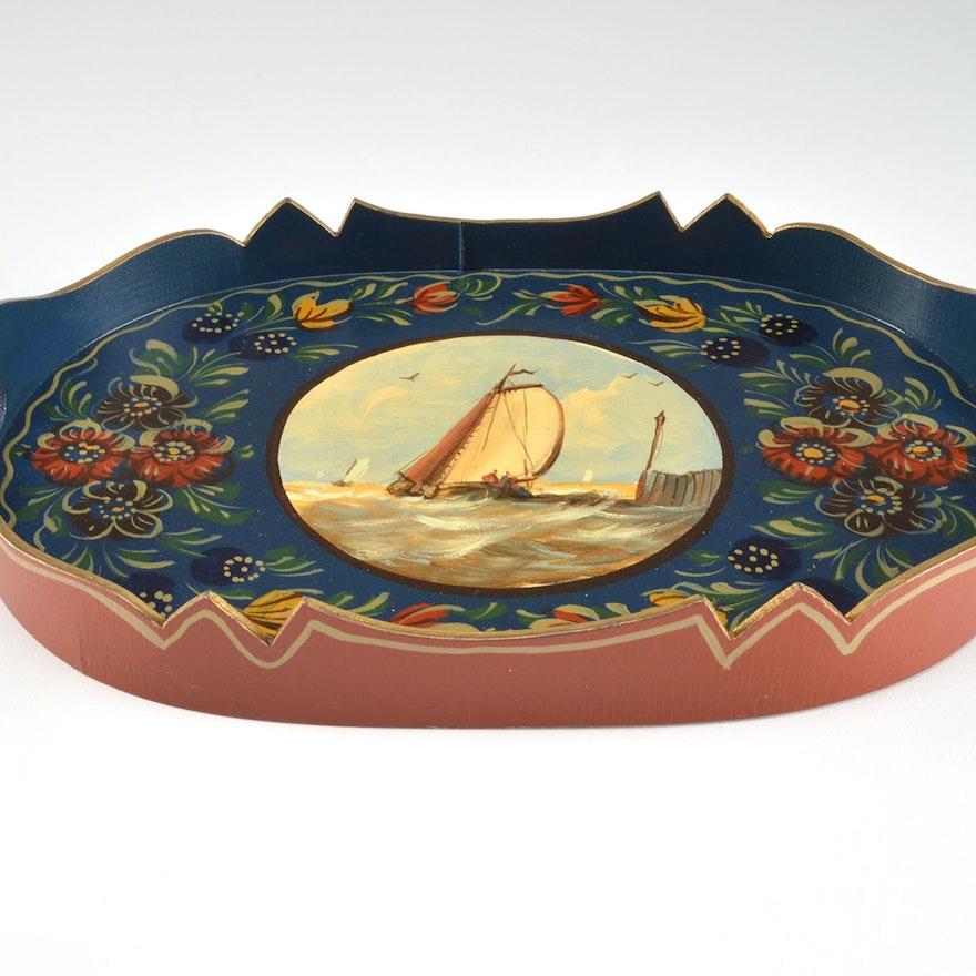Vintage Dutch Folk Art Hand Painted Wooden Tray