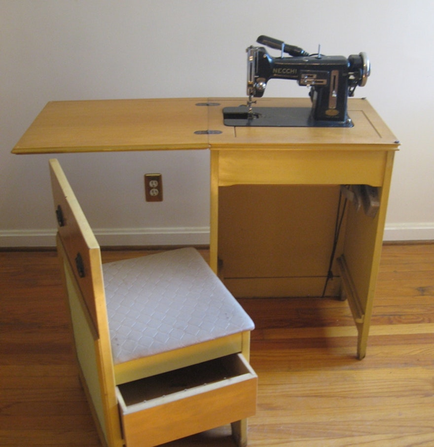 Antique sewing chair - Vintage Sewing Cabinet And Chair With Necchi Sewing Machine