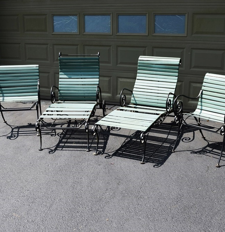 Vintage 1950 6039s Woodard Ionian Wrought Iron Chairs and Loungers