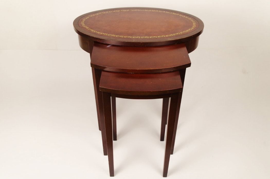 Ferguson Cherry Nesting Tables With Embossed Leather Top ...