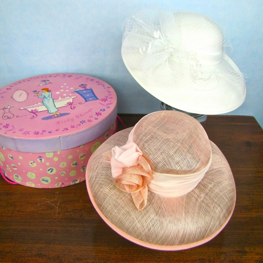 d54972956f8 Two Dress Hats With Pink Storage Box   EBTH