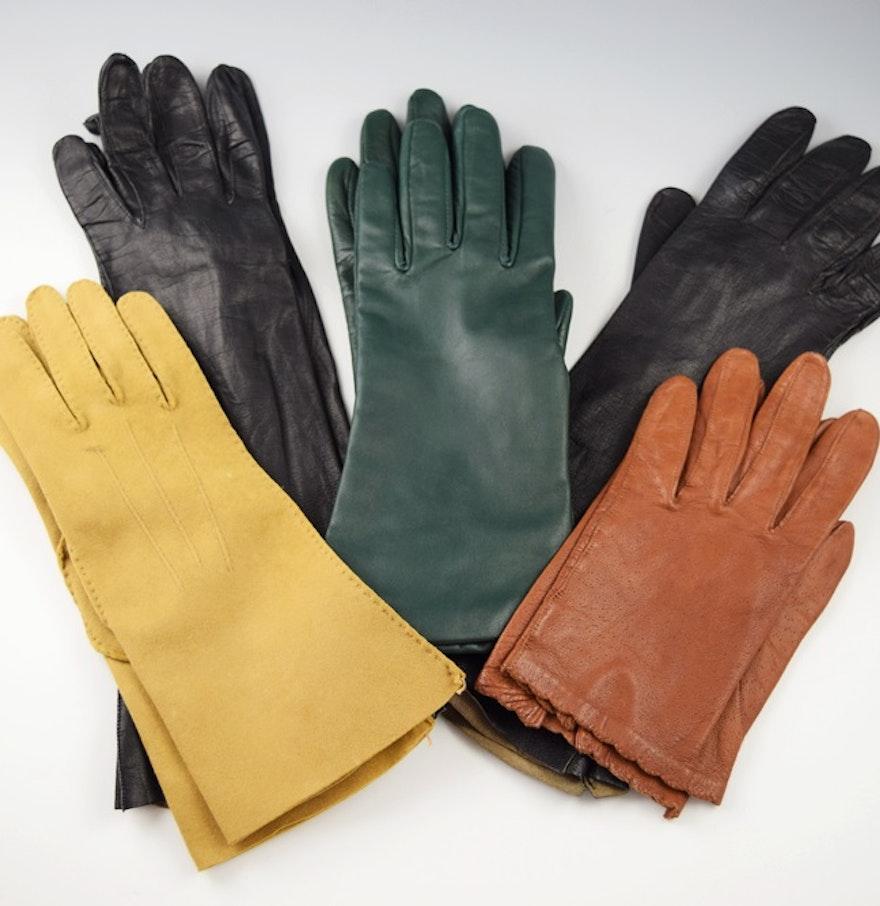 Ladies long vintage leather gloves - Five Pair Of Ladies Vintage Leather Gloves
