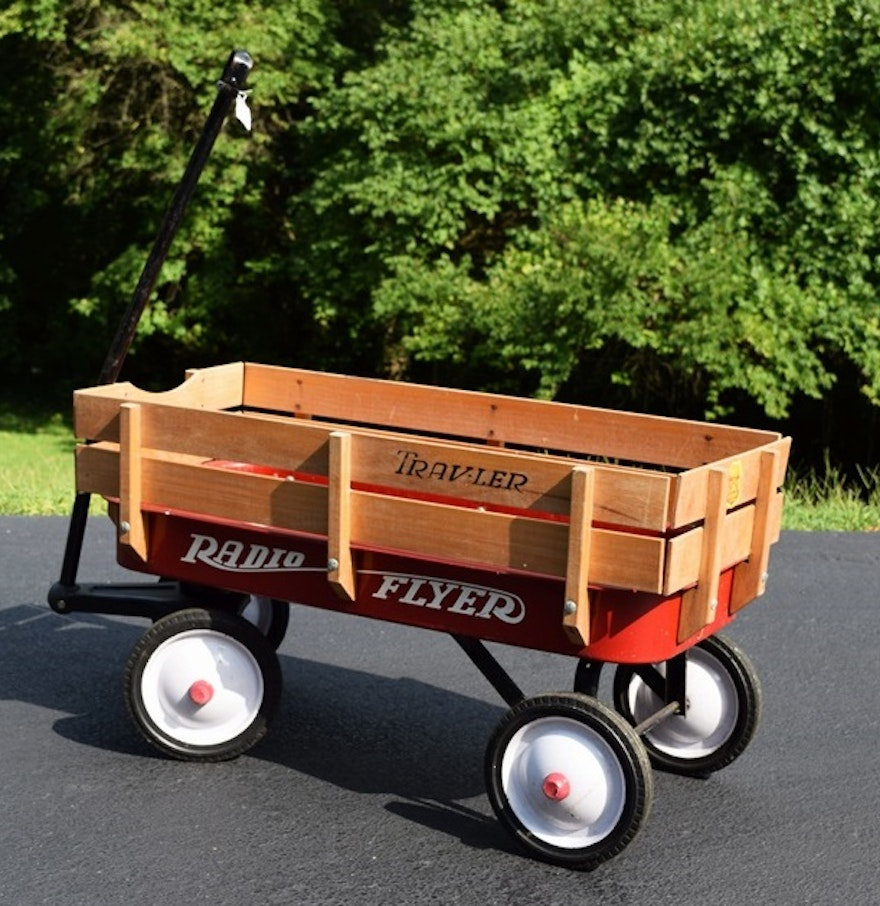 A Classic Radio Flyer Quot Traveler Quot Red Wagon Ebth