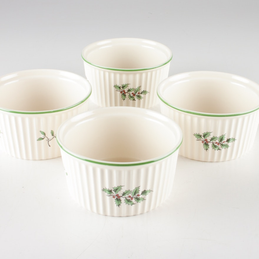 Spode Christmas Tree Candle Holder: Set Of Four Spode Christmas Tree Ramekins