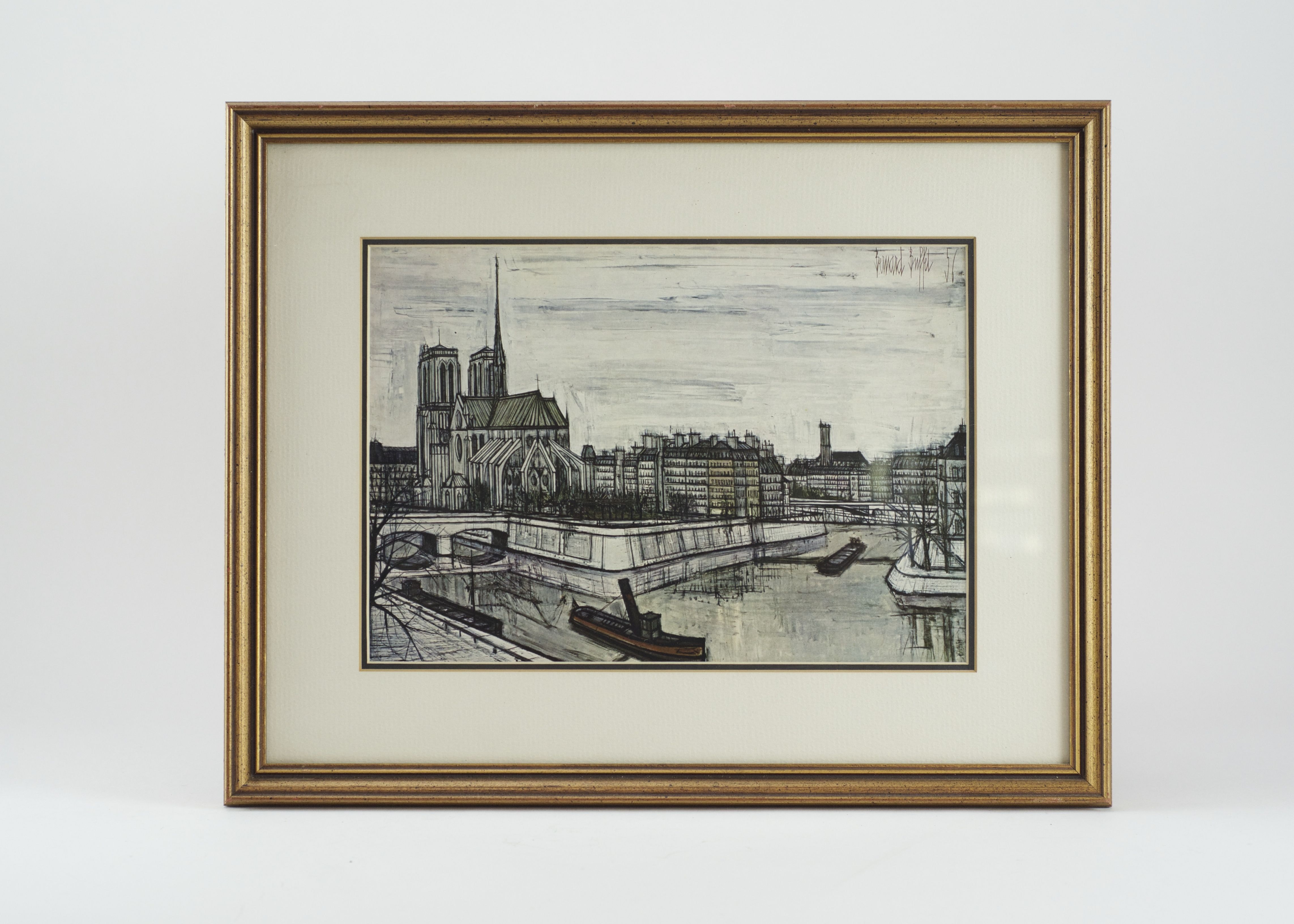 bernard buffet offset lithograph print of notre dame cathedral ebth rh ebth com bernard buffet 55 prints bernard buffet prints for sale