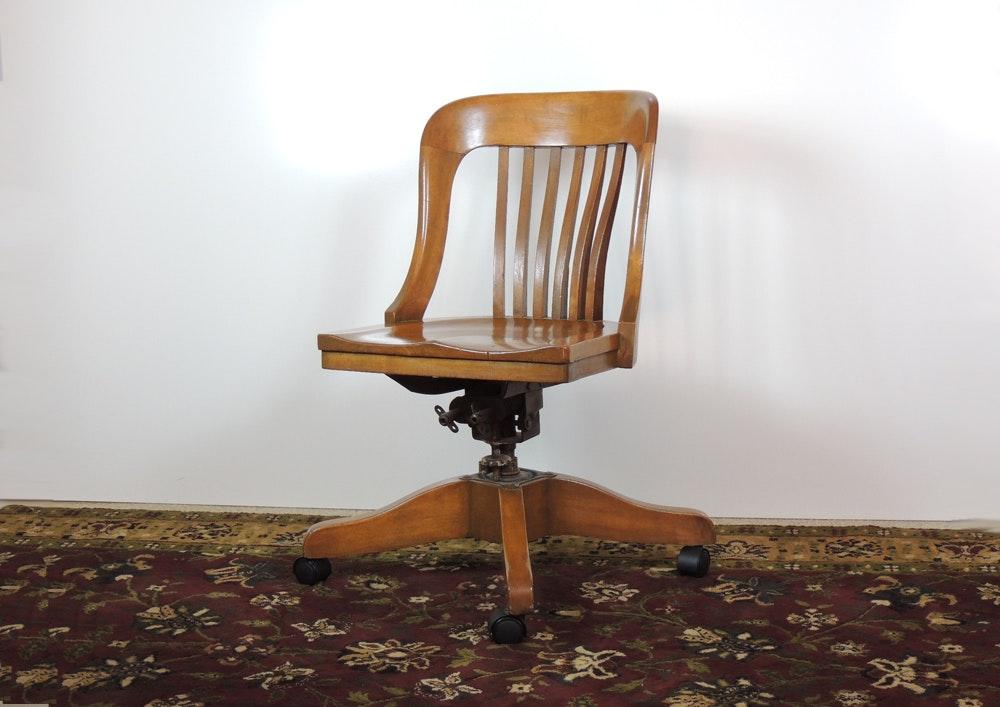Marble u0026 Shattuck Wooden Bankers Desk Chair ... & Marble u0026 Shattuck Wooden Bankers Desk Chair : EBTH