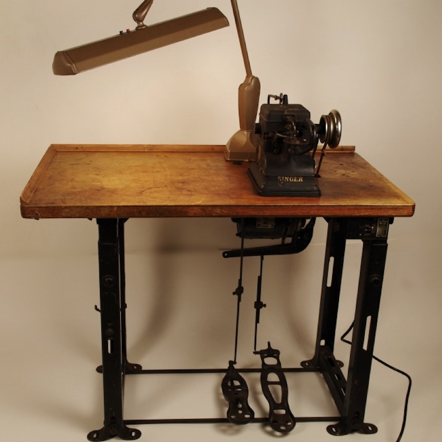 Heavy Duty Singer Sewing Machine With Antique Factory Table EBTH Magnificent Singer Sewing Machine Heavy Duty