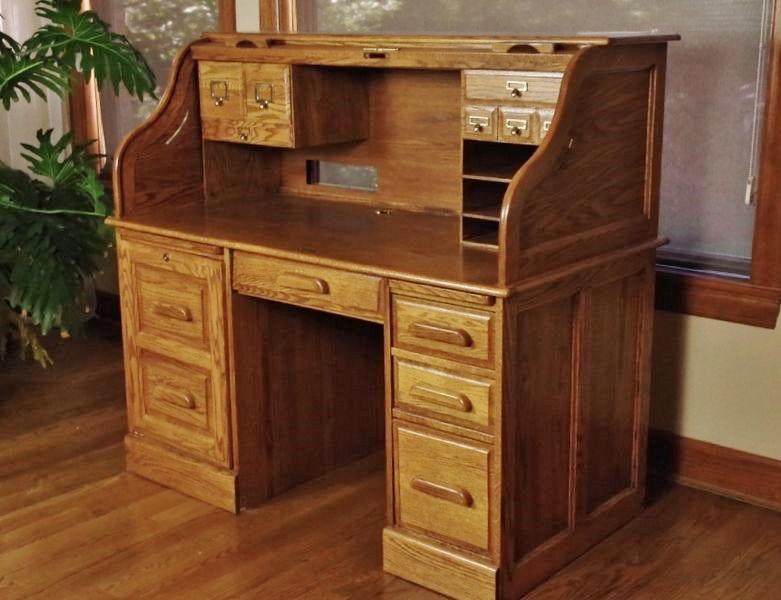 Oak Craft Rolltop Computer Desk Ebth