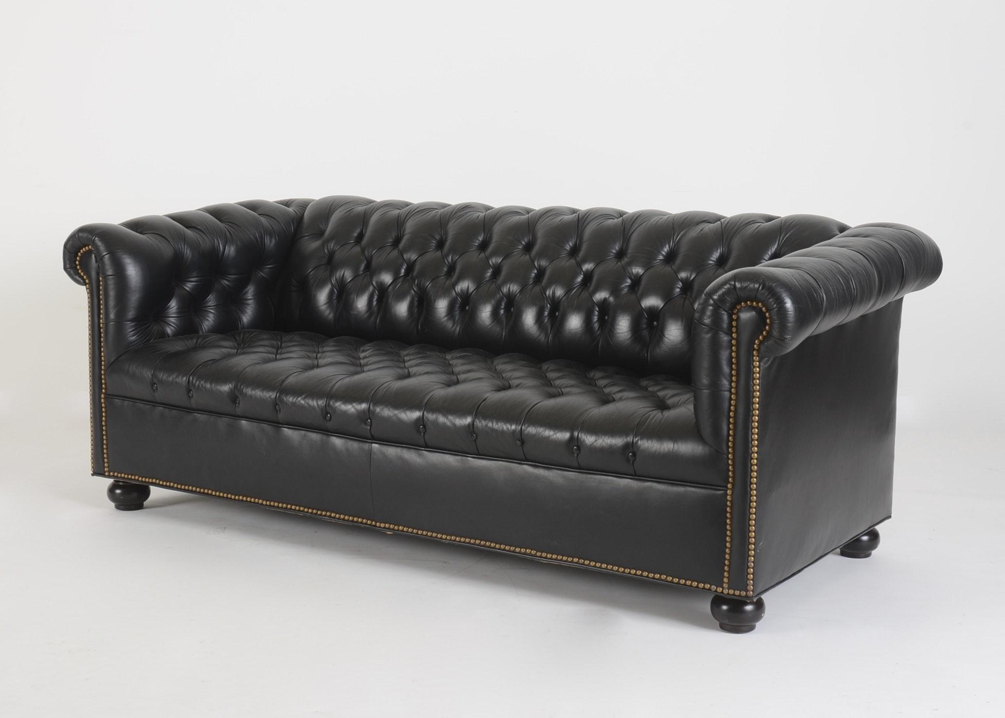 black leather chesterfield sofa ebth