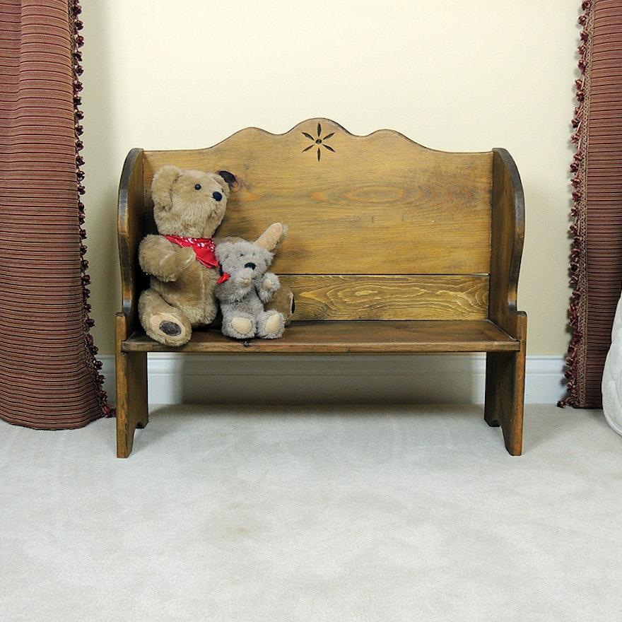 Remarkable Wooden Doll Bench And Bears Inzonedesignstudio Interior Chair Design Inzonedesignstudiocom
