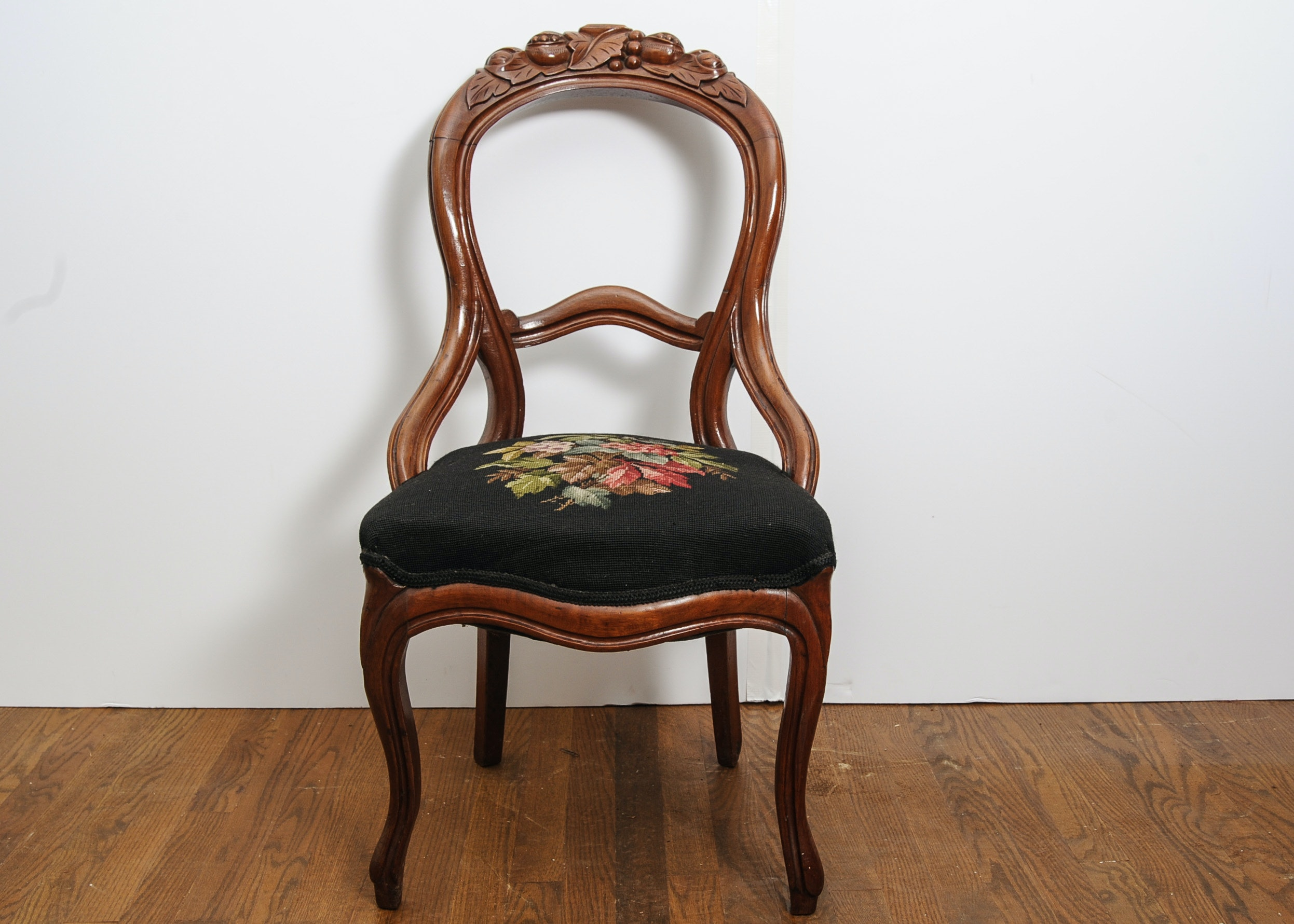 Victorian Era Balloon Back Chair With Intricately Carved Back ...
