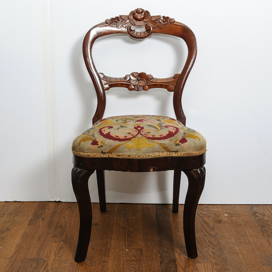 Antique Balloon Back Chair with Carved Back ... - Antique Balloon Back Chair With Carved Back : EBTH