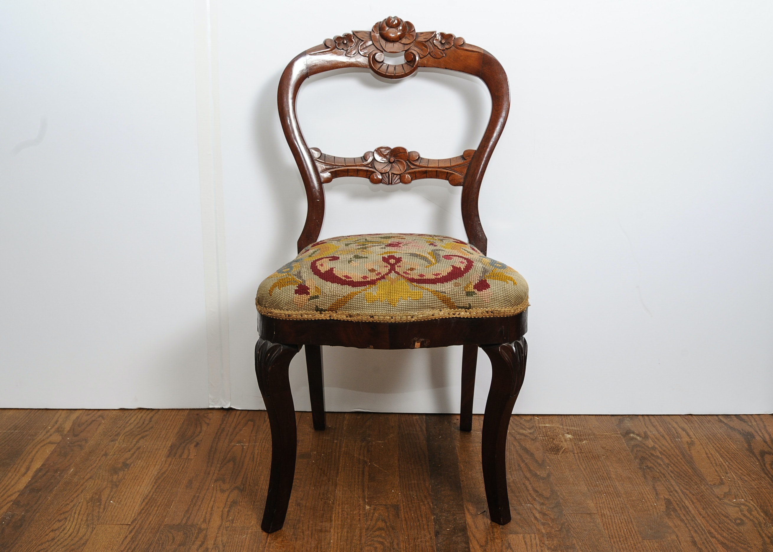 Antique Balloon Back Chair With Carved Back ...
