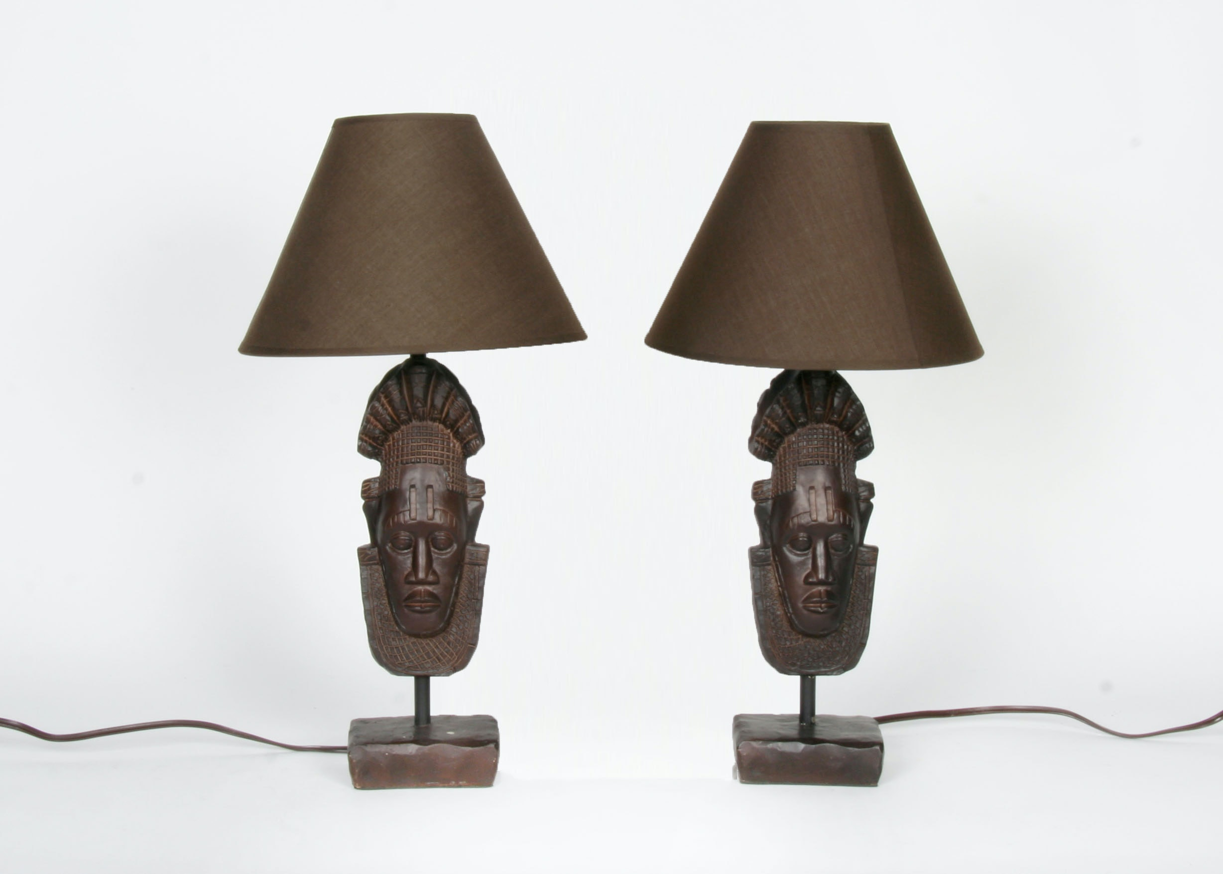 Pair Of Small Tiki Head Tabletop Lamps ...