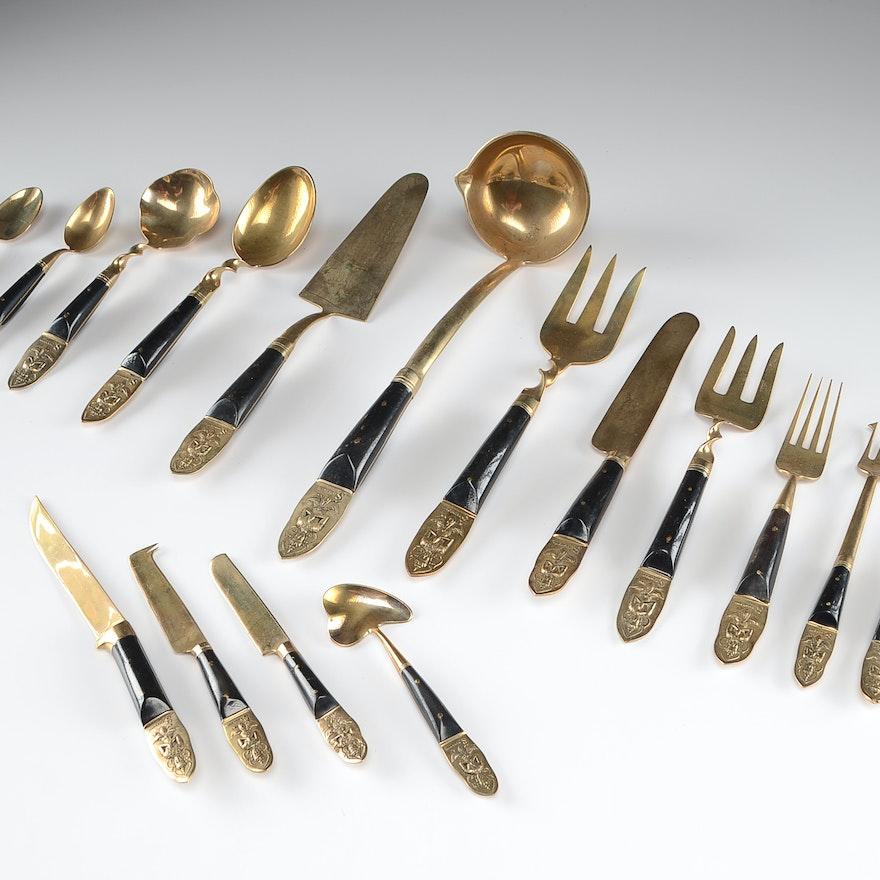 Vintage Siam Thailand Brass and Horn Flatware Set : EBTH
