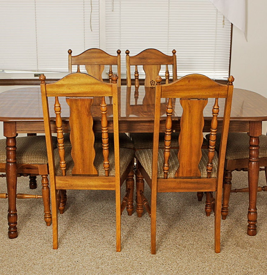Beech wood dining table and chairs ebth