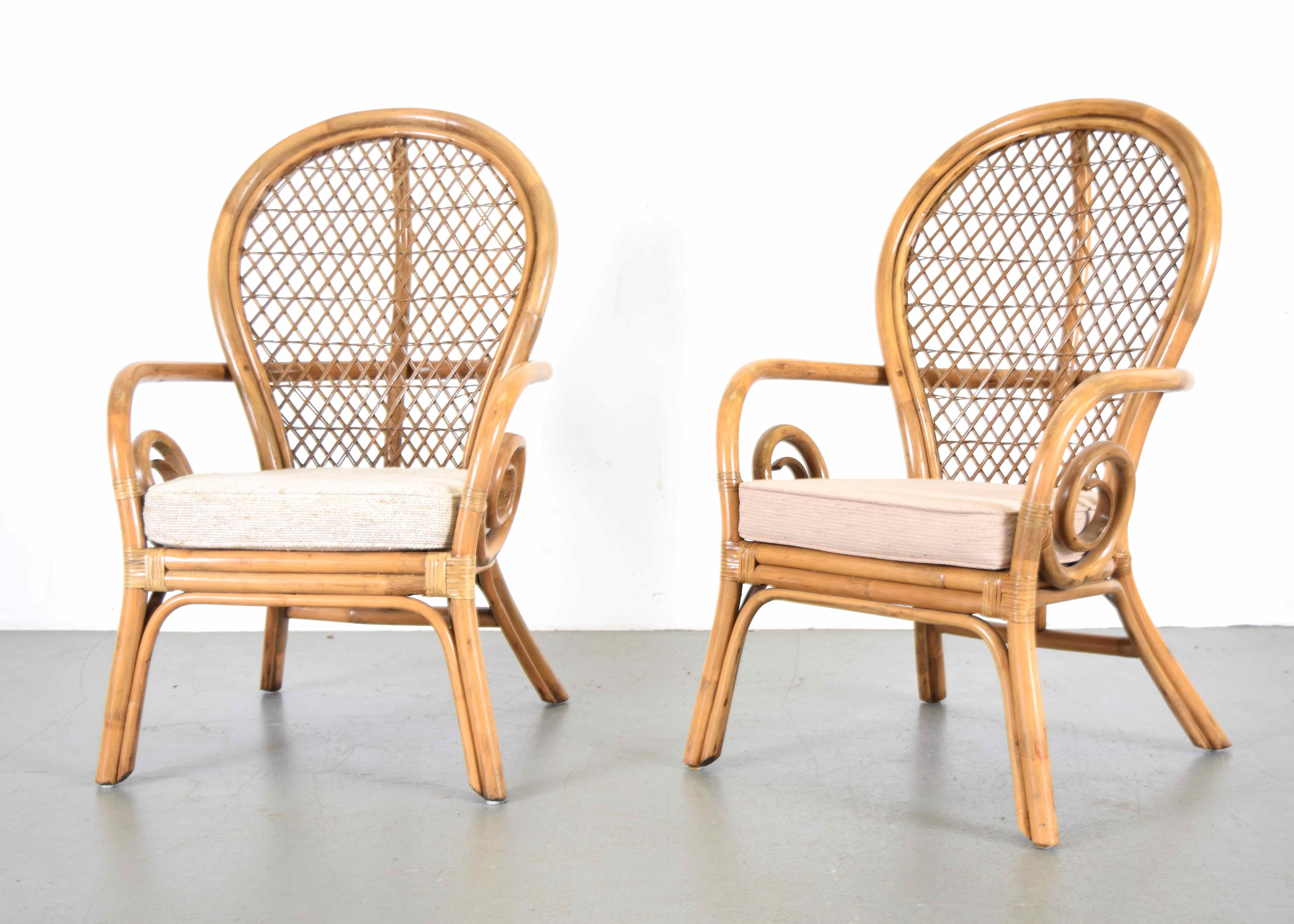 Delightful High Back Rattan Chairs