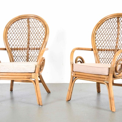 High Back Rattan Chairs. Vintage Chairs  Antique Chairs and Retro Chairs Auction in