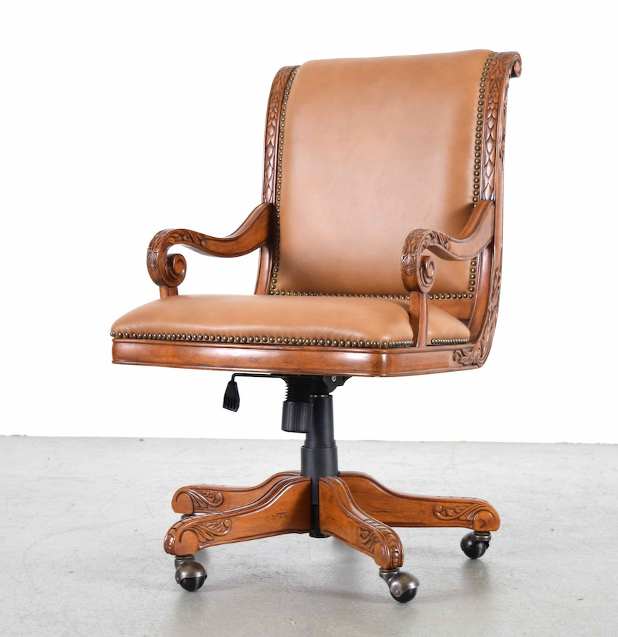 Tan leather office chair - Ornate Leather Office Chair