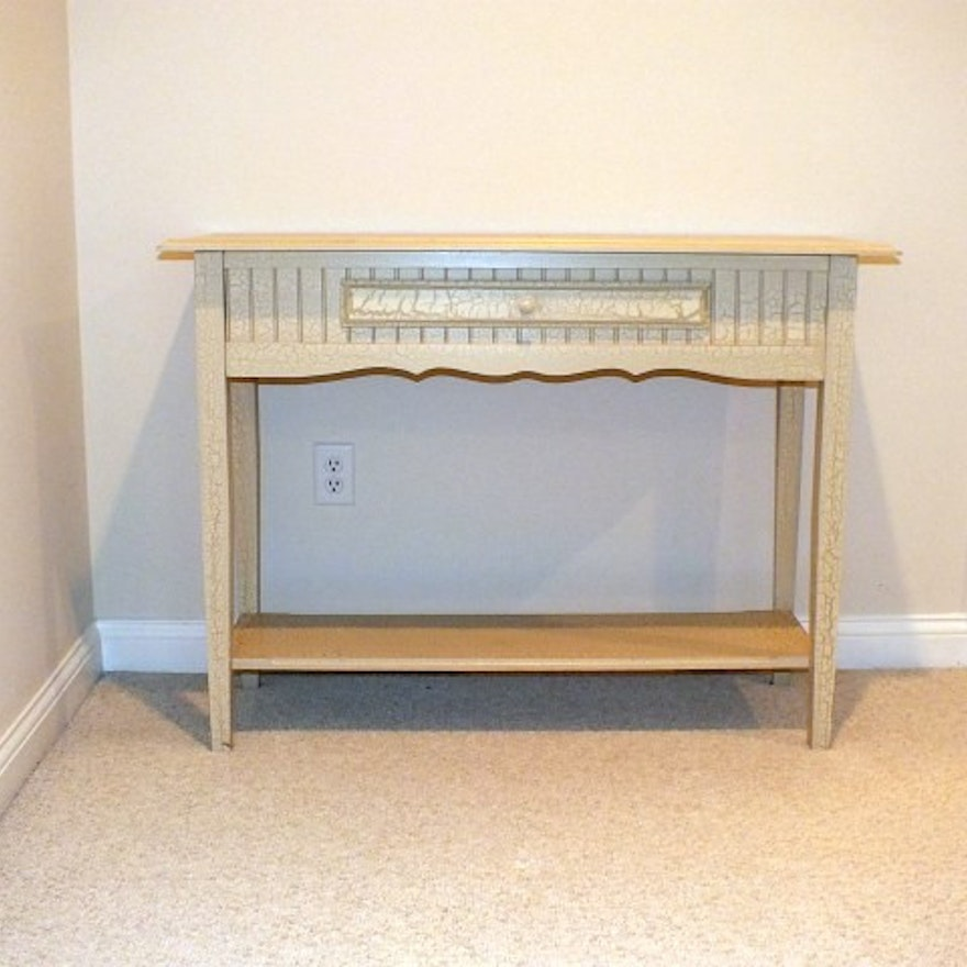 Cottage Style Console Table With An OffWhite Crackle Finish EBTH - Cottage style console table