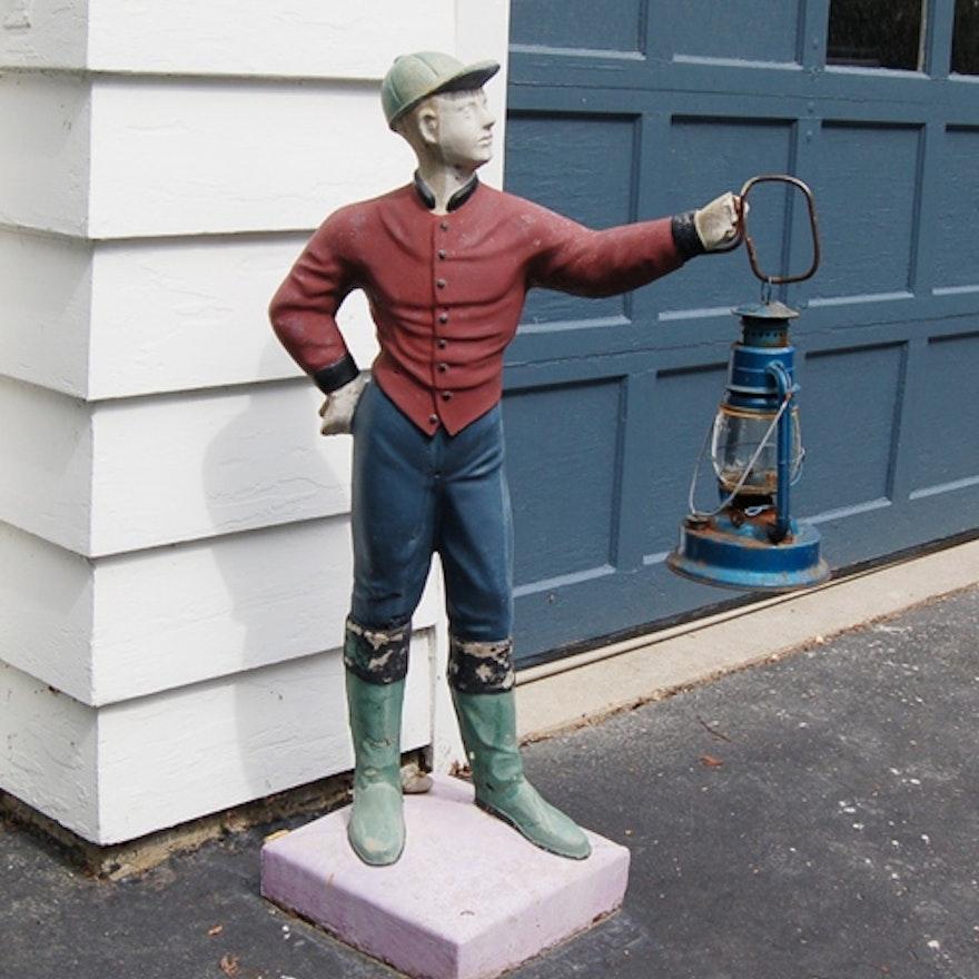 Concrete Lawn Jockey With Lantern Ebth