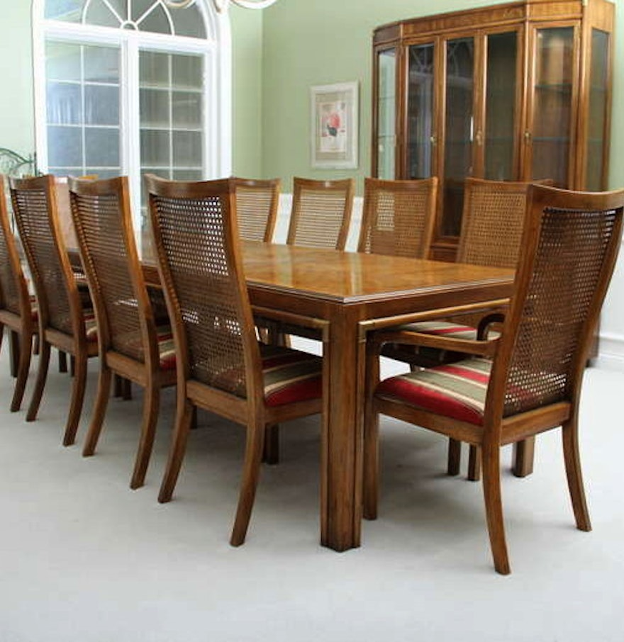 Vintage Drexel Campaign Style Dining Table With Ten Chairs