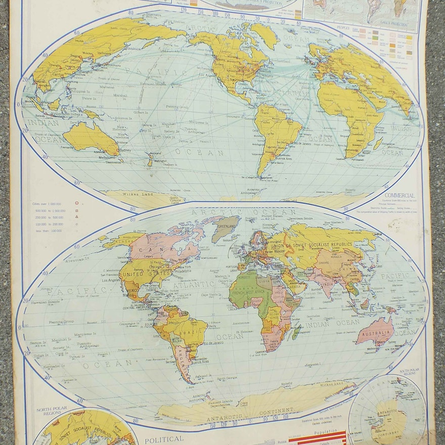 1937 Classroom Style World Map From Denoyer Gepper Co Chicago Ebth
