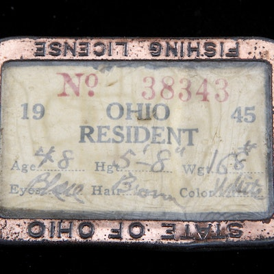 Vintage ephemera auctions collectible ephemera for sale for Ohio state fishing license