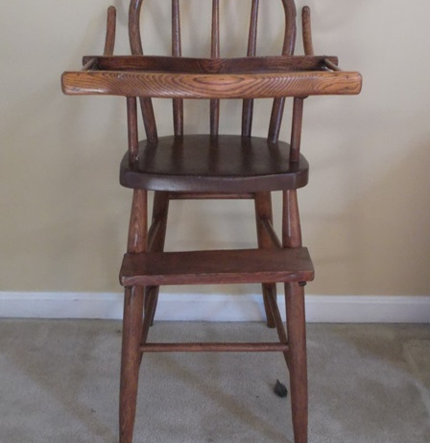 Antique high chair bentwood - Antique Oak Bentwood Highchair