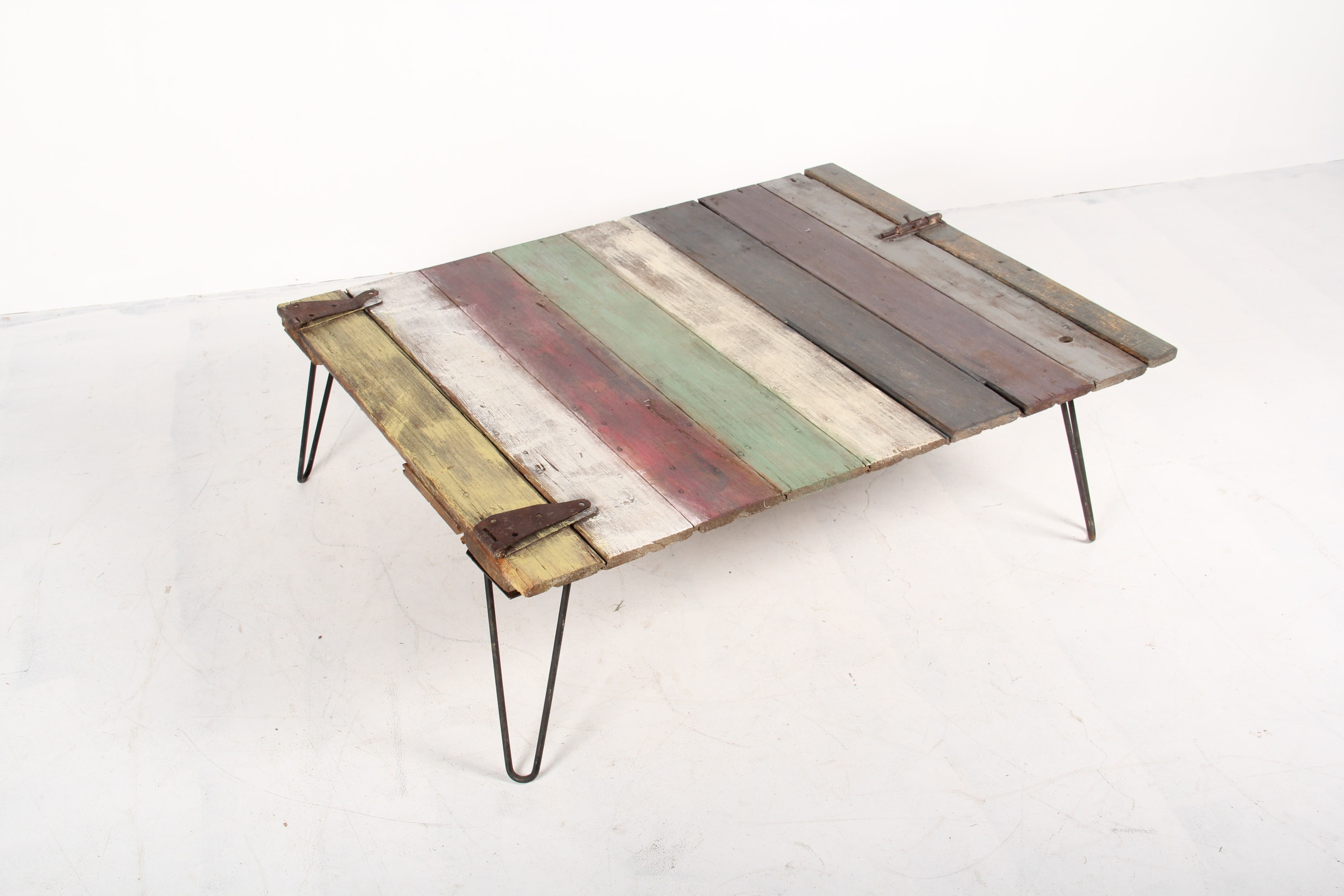 Vintage Barn Wood Door Coffee Table With 1950s Style