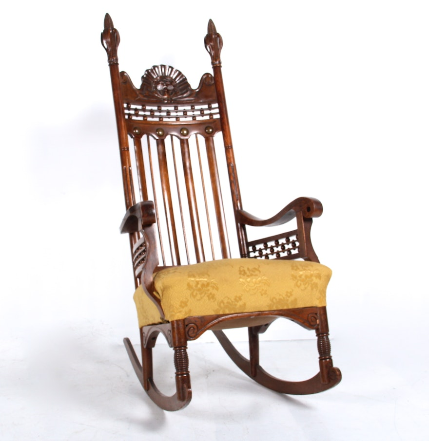 Victorian rocking chair - Antique Victorian Benjamin Franklin Hand Carved Rocking Chair
