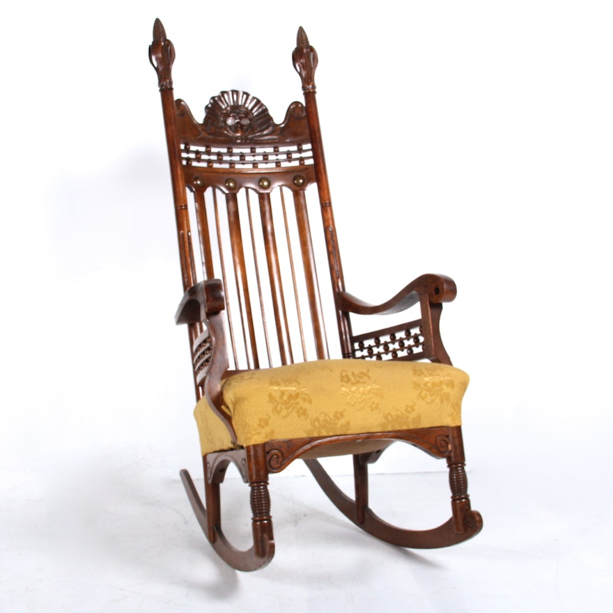 Super Antique Victorian Benjamin Franklin Hand Carved Rocking Chair Ocoug Best Dining Table And Chair Ideas Images Ocougorg