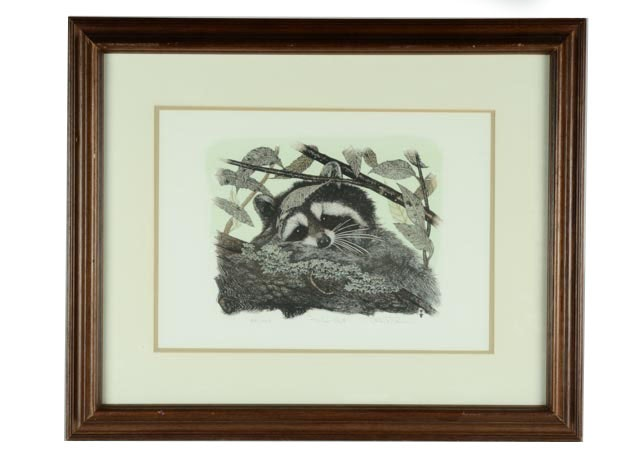 signed and numbered raccoon print ebth