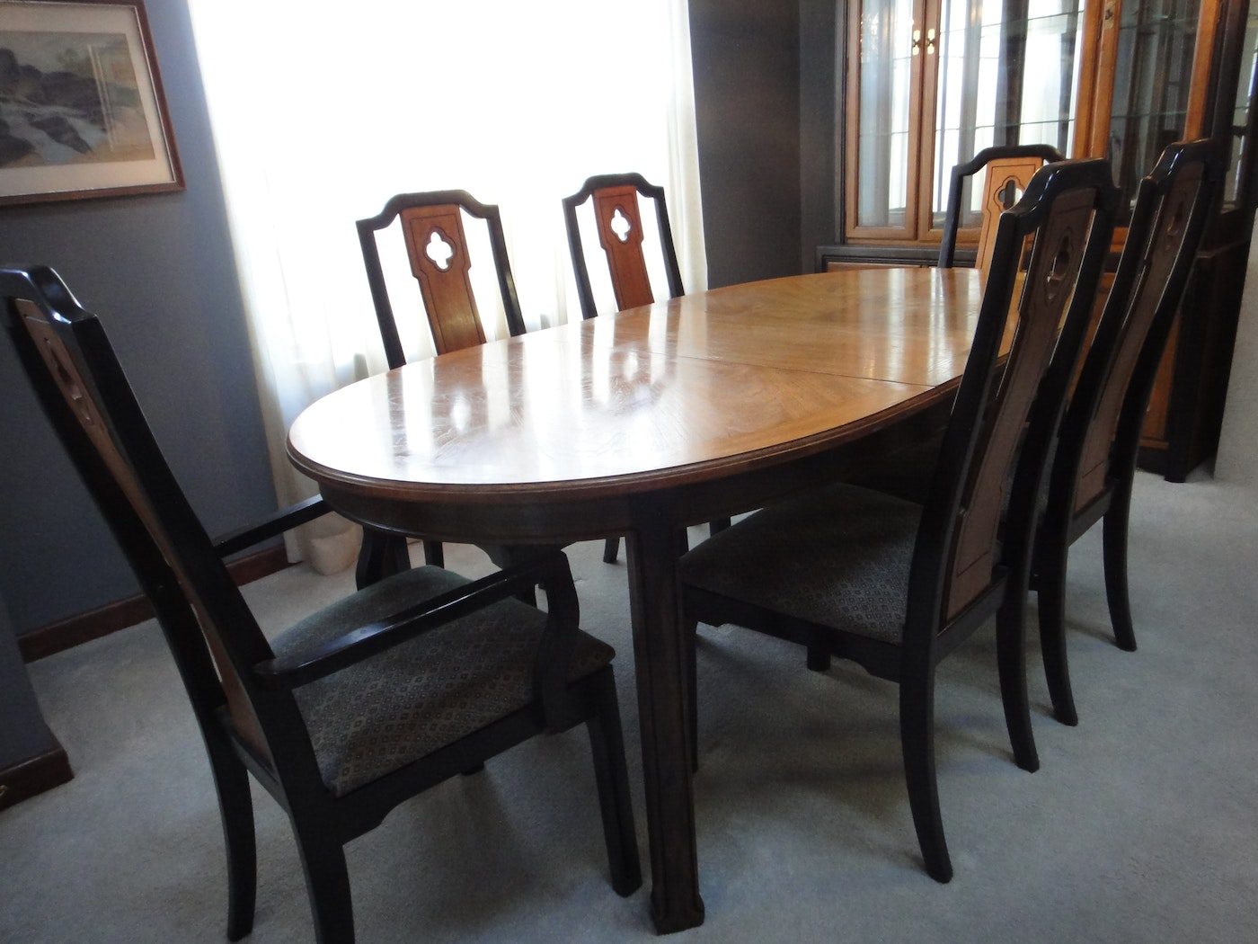 mid century thomasville dining room table 6 chairs ebth. Black Bedroom Furniture Sets. Home Design Ideas