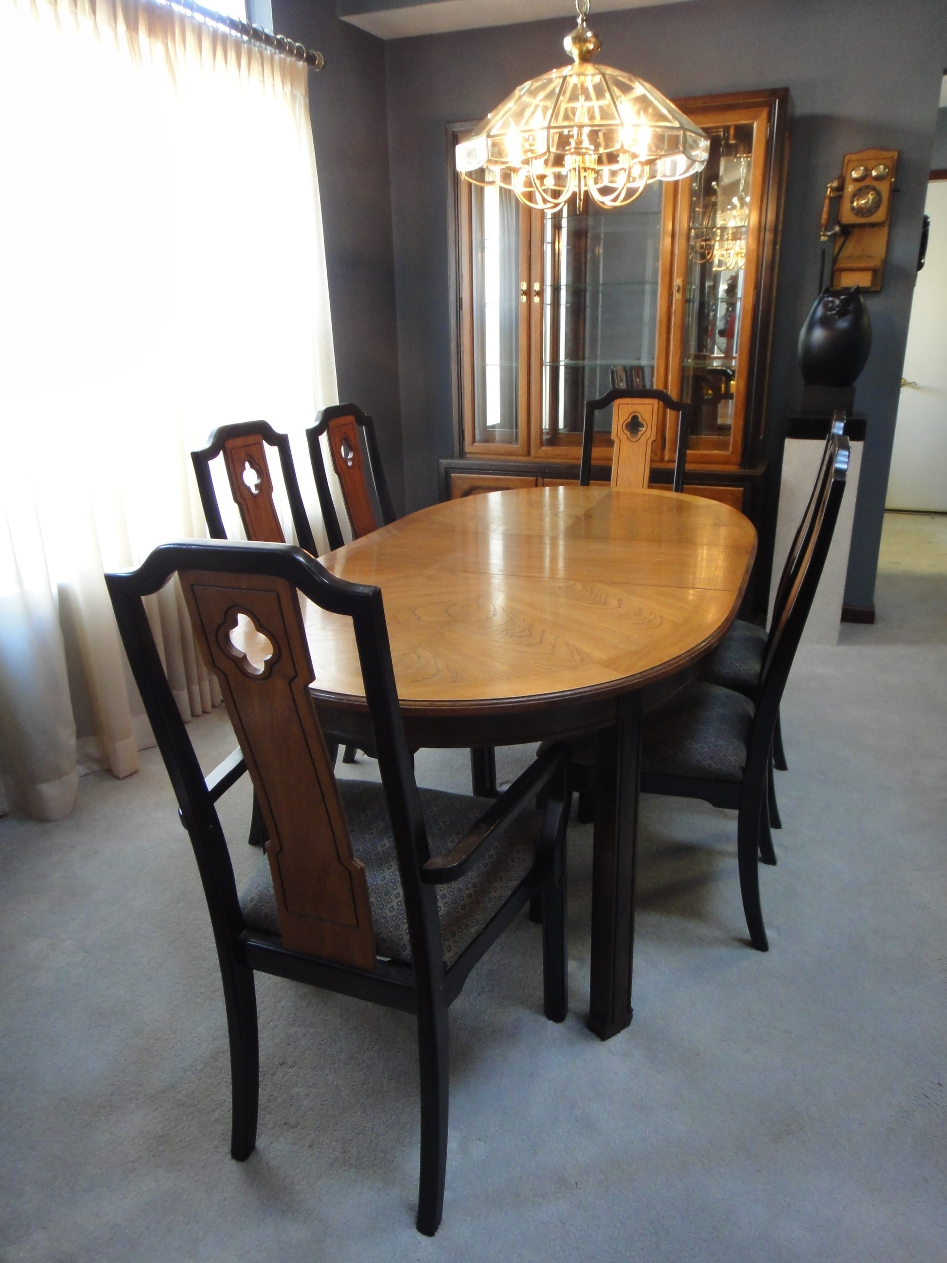 mid century thomasville dining room table 6 chairs