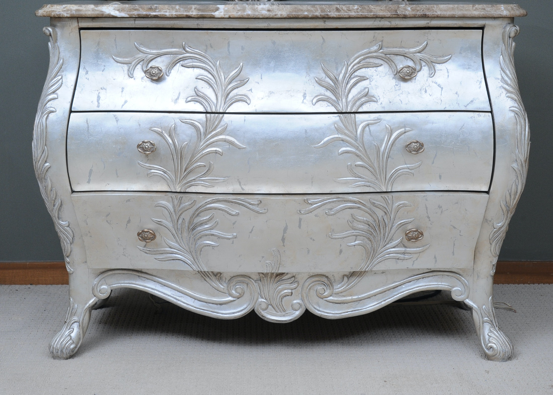 French Silver Leaf Bombe Commode By American Drew Furniture