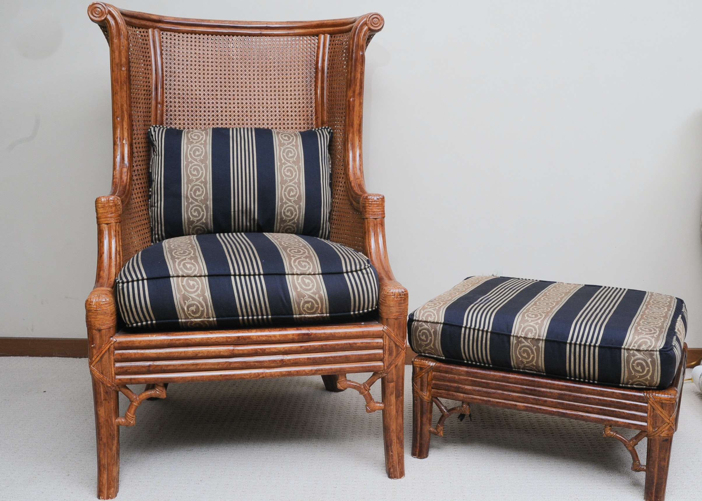 Kashmir Cane Back Wing Chair And Ottoman