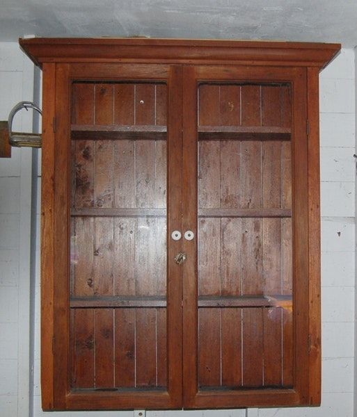 Vintage Pine Wall Cabinet With Wavy Glass Ebth